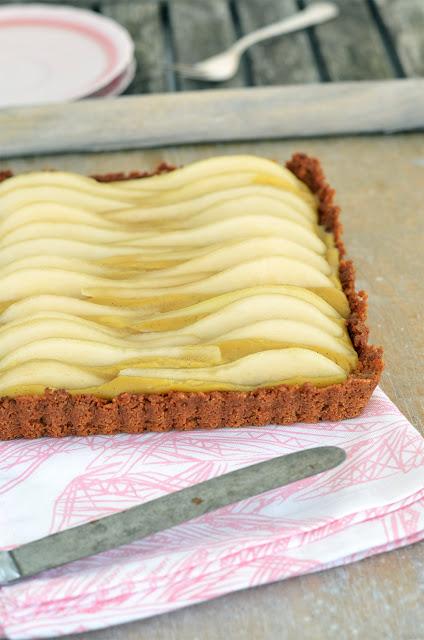 Vanillepudding Tarte und Birnen