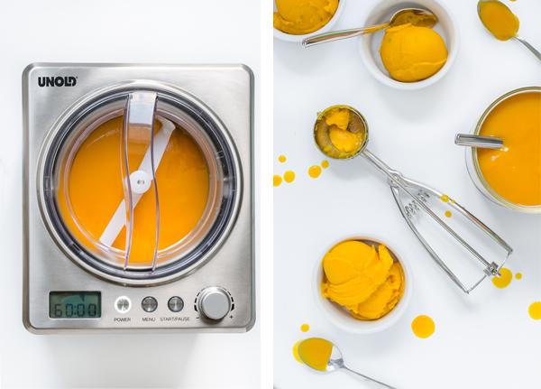 Produkttest Eismaschine Unold Profi, Rezept Mangosorbet